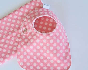 Baby Girl Gift Set Bib and Burp Cloth Petal Pink Polka Dots