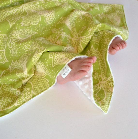 Green Newborn Girl Blanket, Lovie Security Blanket Toddler Blanket with Minky in Green Filigree