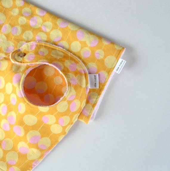 SALE - Gift Set with Minky Pink Modern Martini Bib and Burp Cloth for Baby Girl