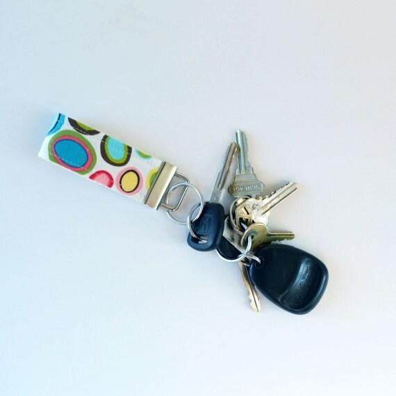 Mini Key Fob Fabric Bright Pebbles