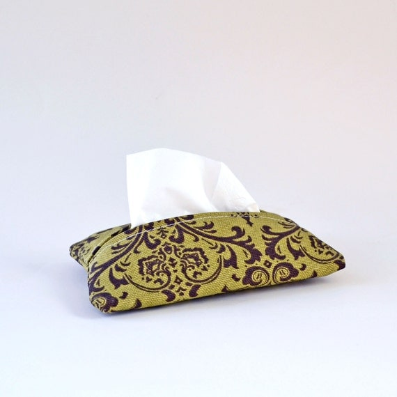 Fabric Tissue Holder, Travel Sized Cover, Brown and Olive Green Swirls