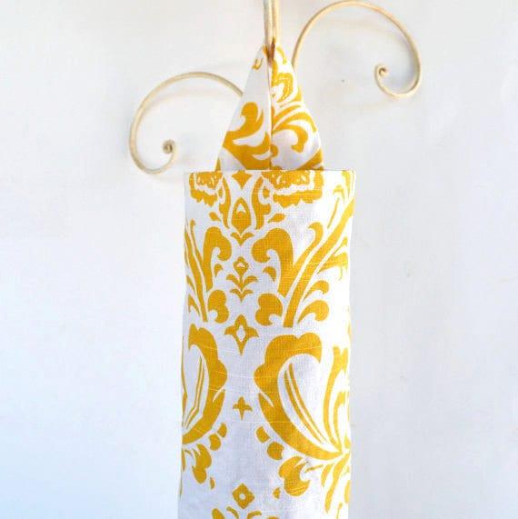 Fabric Plastic Grocery Bag Holder Dispenser Light Mustard Yellow and Cream Swirls Cloth