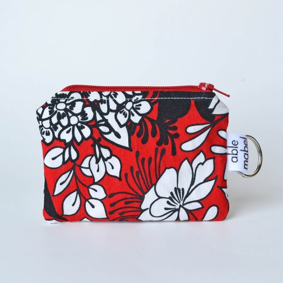 Small Zippered Pouch, Credit Card Holder, Business Card Holder, Red White and Black Flowers