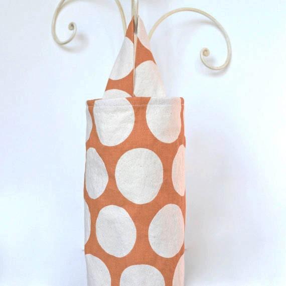 Plastic Grocery Bag Holder Orange and Cream Large Polka Dots