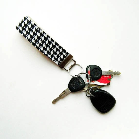 Key Ring Fabric Fob Black and White Houndstooth