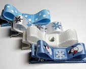 WINTER BLUES COLLECTION Set of 4 Hair Bow Clippies