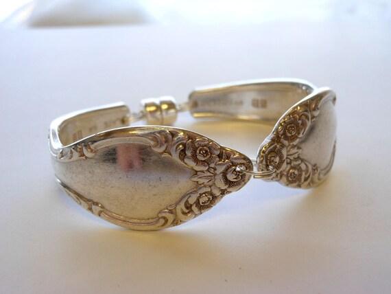 Silverware Handle Bracelet Tapered Floral Pattern