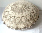 Large vintage doily pillow made of antique hand loomed fabric and vintage doily- decorative accent pillow