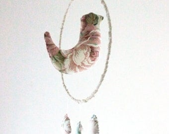 Eco friendly dove mobile for kids room decor made with vintage fabric