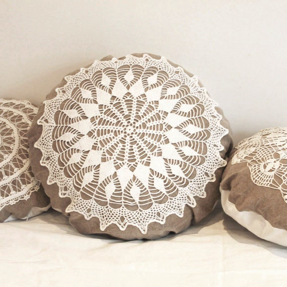 Large Country Cottage Round Doily Pillow Made Of Antique Hand
