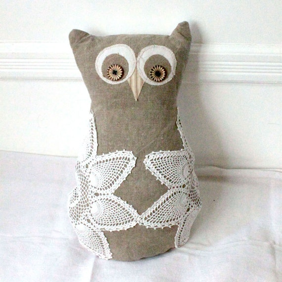 Shabby chic Owl cushion made of antique hand loomed fabric and vintage doily- decorative accent pillow