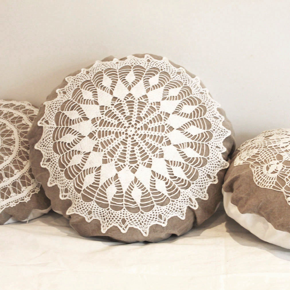 Round Decorative Pillows Large Country Cottage Round Doily Pillow Made Of Antique Hand