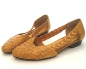 vintage Woven Leather Flats with Side Cut Out ..... Size: 6.5 or 37