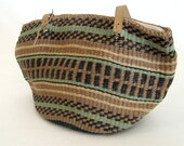 vintage Shades of Earth Woven Basket Bag