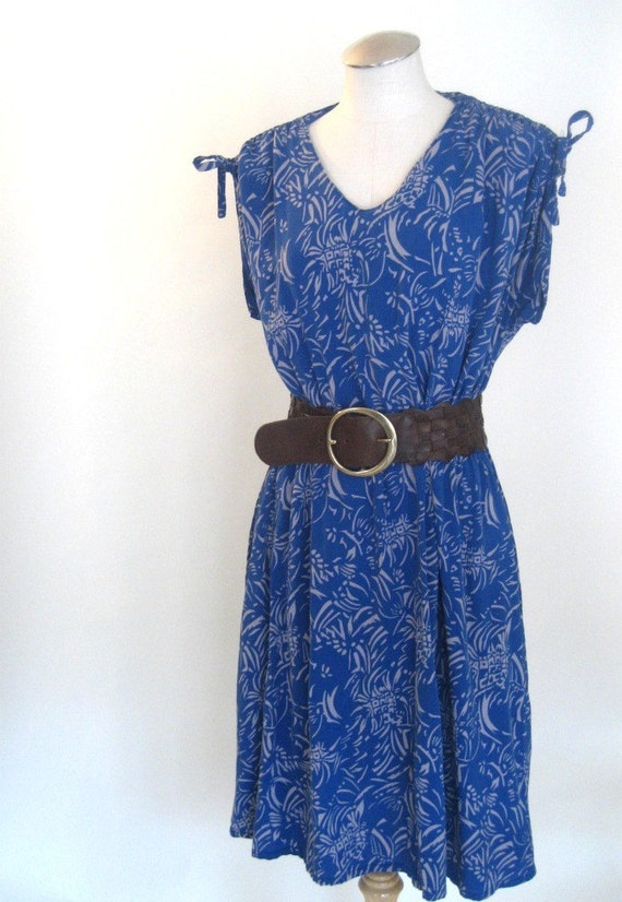 S A L E - vintage Sun Dress in AZURE Blue ..... Size: Medium/Large