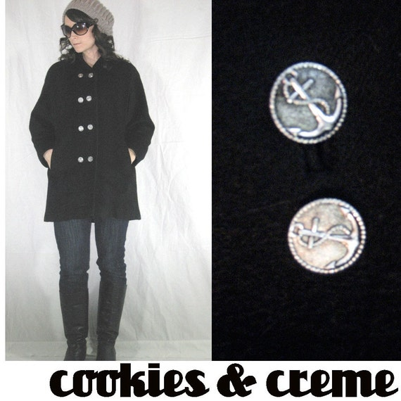 vintage SAILOR WOOL PEA coat with PEWTER ANCHOR buttons......THE BEST