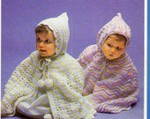1970s 2 knitted and crochet baby hooded capes pattern pdf INSTANT DOWNLOAD