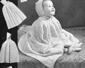 1940s baby Shawl Carry Cape Hooded Cloak knitting pattern pdf