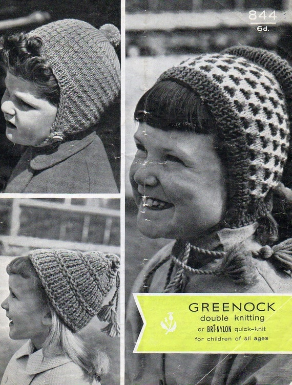 1950s 3 Hat Caps Knitting Pattern pdf Childs Thimble Hat PomPom Hat Dutch Bonnet INSTANT DOWNLOAD