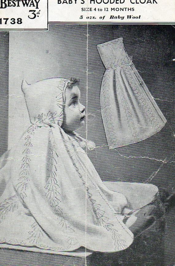 1930s Baby Hooded Cloak Cape Knitting Pattern pdf
