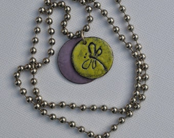 Sgraffito Torch Fired Enamel Dragonfly Pendant