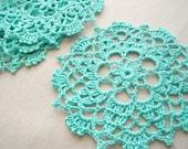 Blue Turquoise Handmade Doily Crochet Coaster Set of 4
