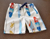 handmade shorts - Board Shorts in White for baby boy and size 2-3