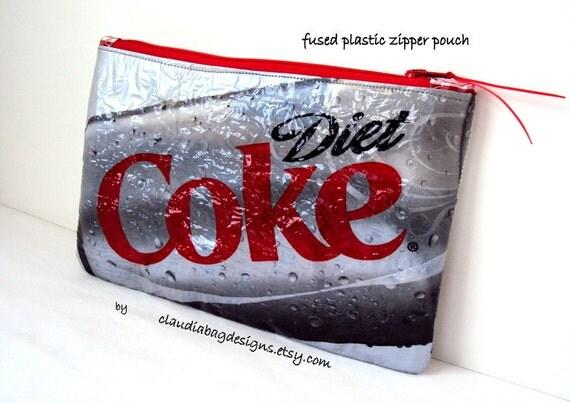 Fused Plastic Zipper Pouch Makeup Bag - Diet Coke