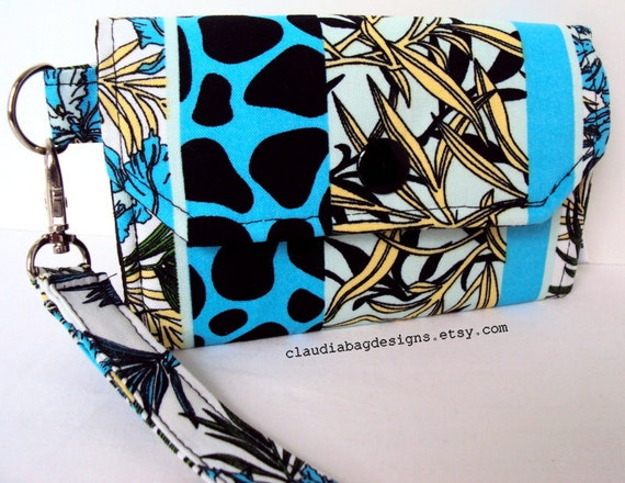 Clearance Sale Cell Phone Wallet -  Case -  Holder - Wristlet (Tropical Turquoise Leopard Animal Print)