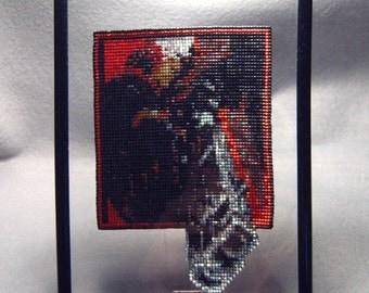 Let's Rock, framed beaded panel