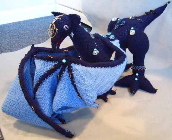FiSele, OOAK crocheted soft sculpture dragon with accessories