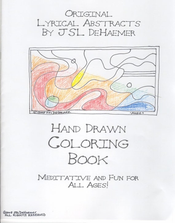COLORING BOOK hand drawn abstract art