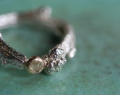 sterling twig and 14k gold nugget ring size 6.5 ooak
