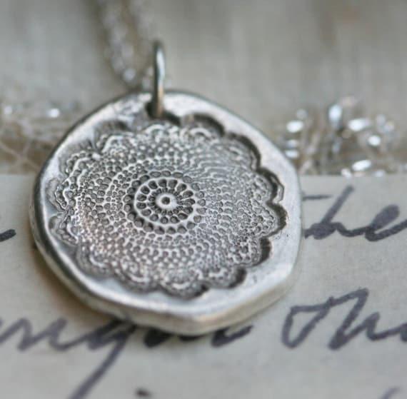 black lace bloom fine silver necklace