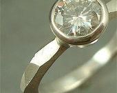 Chiseled Engagement Ring w/ 6mm Moissanite - sterling