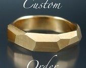 RESERVED for  T.F.- 14k gold Chiseled Ring Set