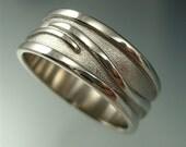 Men's Wave Vine Ring - Sterling Silver Wedding Band