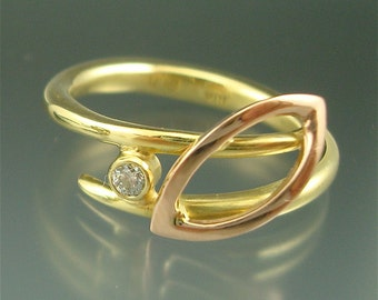 Vine Ring with Leaf and Diamond - yellow and rose gold
