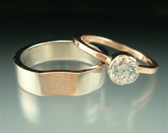 Pretty in Pink- palladium, rose gold, moissanite bridal set
