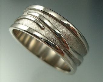 Men's Wave Vine Ring - Sterling Silver Wedding Band