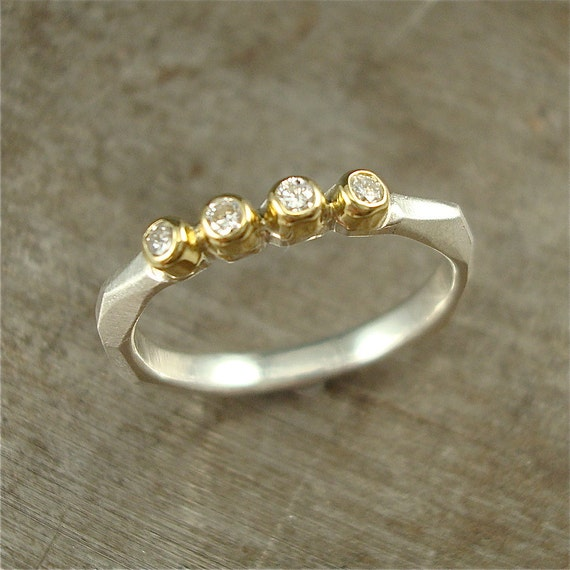 Four Diamond Chiseled Ring - sterling, 18k gold and diamond
