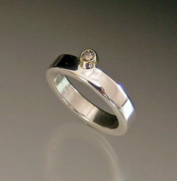 Silver band w\/ chocolate diamond