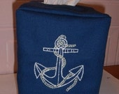 Navy Blue Nautical Bathroom Tissue Cover - Anchor embroidered