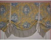 Blue on Yellow Toile Faux Roman Shade Valance
