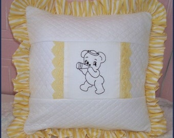 Yellow TEDDY BEAR PILLOW Cover, Lace, Embroidered