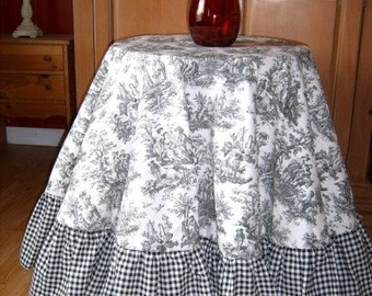 Black or Red TOILE Tablecloth / Topper - Round