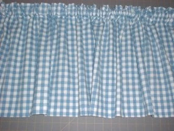 GINGHAM Check Curtain VALANCE- Blue, Black, Red or Pink