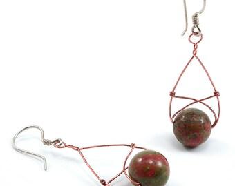 Unakite, Copper, Silver, Oval Hoop Earrings. Unakite, Copper and Sterling Silver, Wire Wrapped Tear Drop, Oval Hoop, Rustic, Boho Earrings.