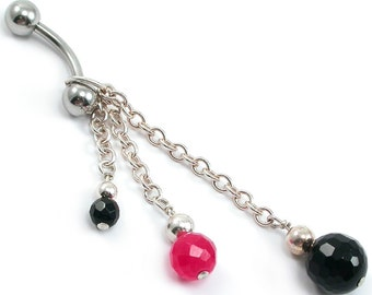 Black Onyx, Ruby Red Jade, Belly Ring Faceted Black Onyx, Ruby Red Jade Sterling Silver, Dangle Belly Ring. Gothic Navel Piercing Chain Ring