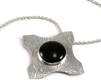 Black Onyx, Sterling Silver Cross Necklace. Black Onyx, Sterling Silver Textured, Bezel Set Gothic Cross, Large Statement Necklace. December